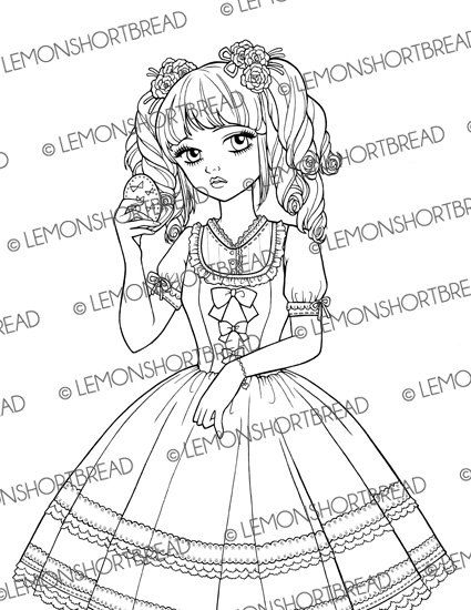 Sweet Lolita Compact Digital Stamp Digi Coloring Page PNG Colouring Book Shoujo