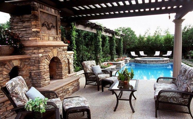 aménagement autour du0027une piscine rectangulaire, meubles de jardin en - amenagement autour d une piscine