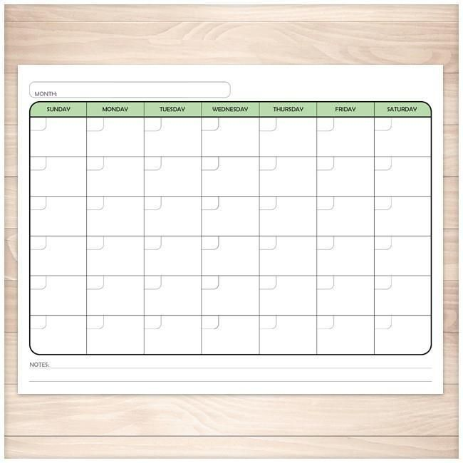 Modern Blank Monthly Calendar  Green Full Page  Printable
