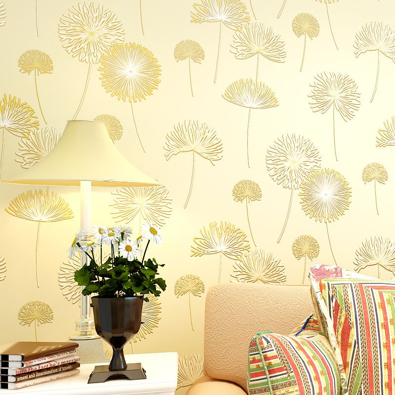 Wallpaper Wholesale Imports Of Non Woven Wallpaper The Bedroom Sweet Romance Background Wall Paper Dande Dandelion Wallpaper Textured Wallpaper Wallpaper Decor