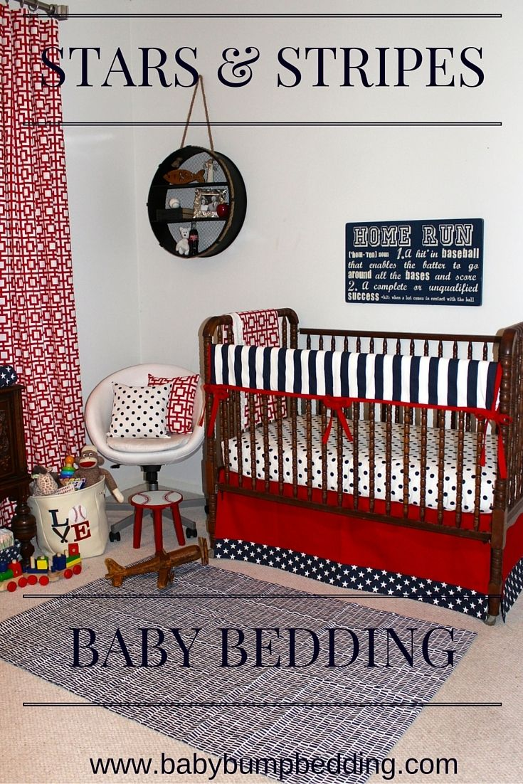 Crib bedding set gray white navy blue with by butterbeansboutique - Red White And Blue Nursery Patriotic Baby Bedding Custom Crib Rail Cover Or