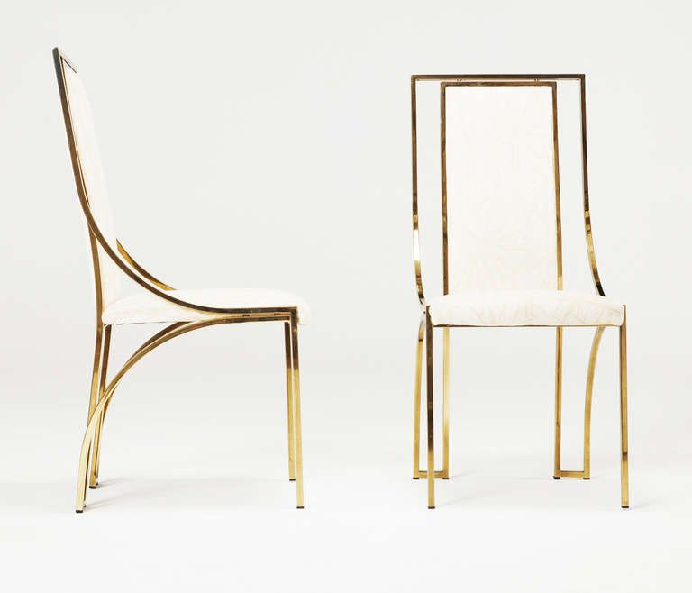 Beau Set Of 6 High Back Brass Chairs