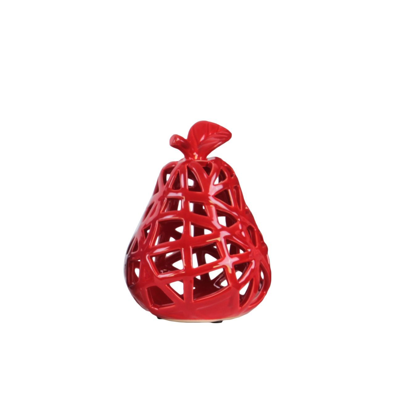 Urban Trends Collection Pear Figurine with Leaf on Stem and Cutout Design Body SM Coated Finish