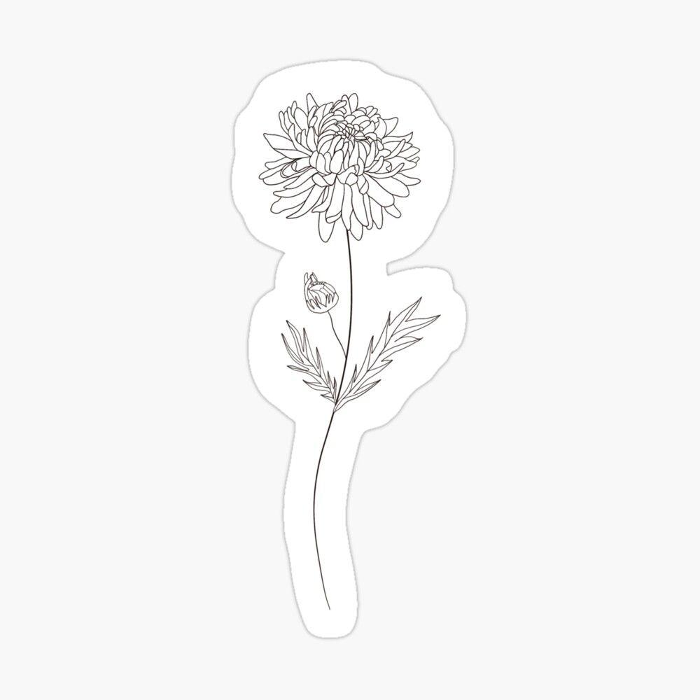 November Birth Month Flower Chrysanthemum Sticker By Ekwdesigns In 2020 Birth Flower Tattoos Birth Month Flowers Chrysanthemum Tattoo