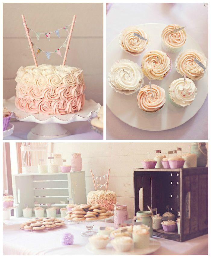 Shabby Chic Vintage 1st Birthday Party   Dessert Bars ...