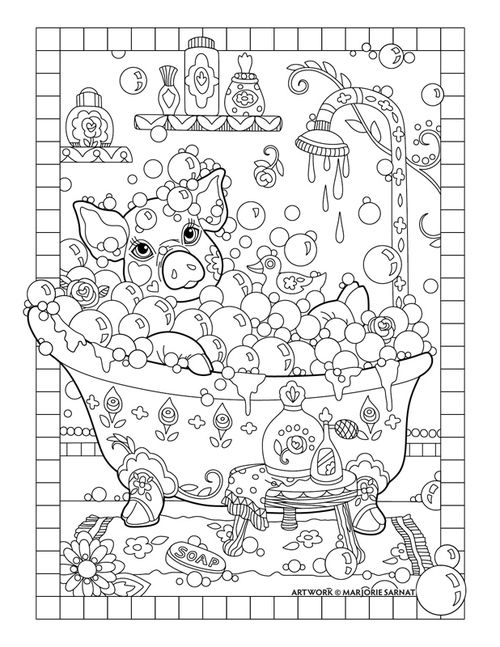 Piggy Bath Pampered Pets Adult Coloring Book By Marjorie Sarnat Davlin Publishing