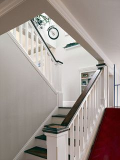 Staircase Idea- box newel and straight spindles