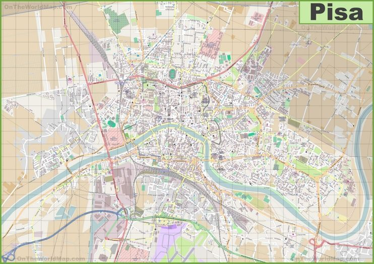 Large detailed map of Pisa | Maps | Map, Pisa и City