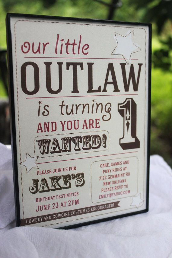 Cowboy Birthday / Wild West Personalized Kids Birthday Party Invitation #boybirthdayparties
