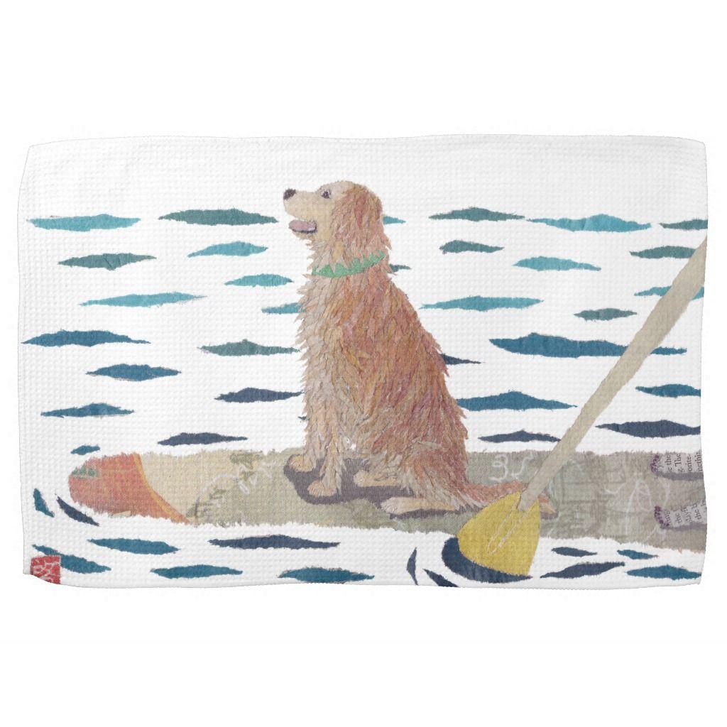 Golden Retriever Beach Dog Paddle Board Towel Zazzle Com Dog