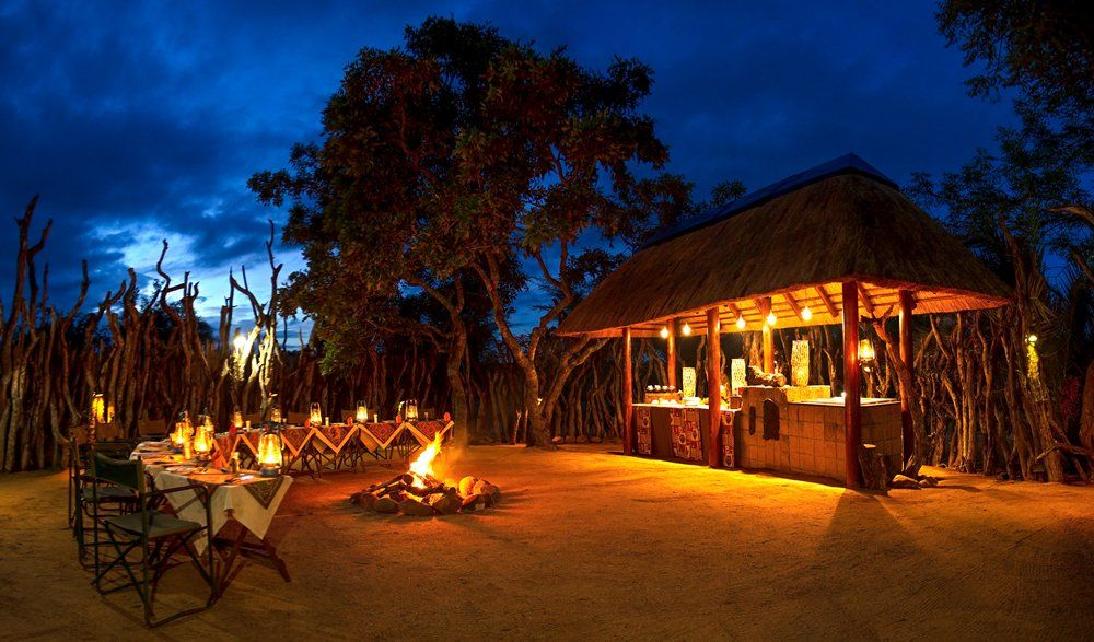 Outdoor dining under the stars at Nkorho Bush Lodge
