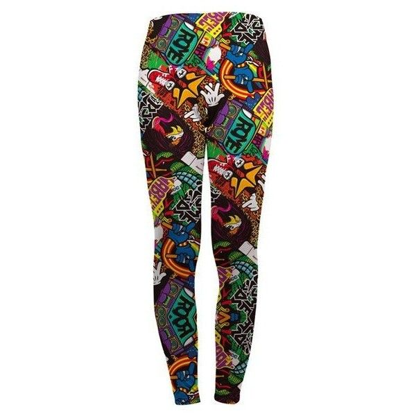 Women Sexy Colorful Printing Ninth Pants Elastic Slimming Leggings... ❤ liked on Polyvore featuring pants, leggings, legging pants, multi colored leggings, colorful leggings, multi colored pants and sexy leggings