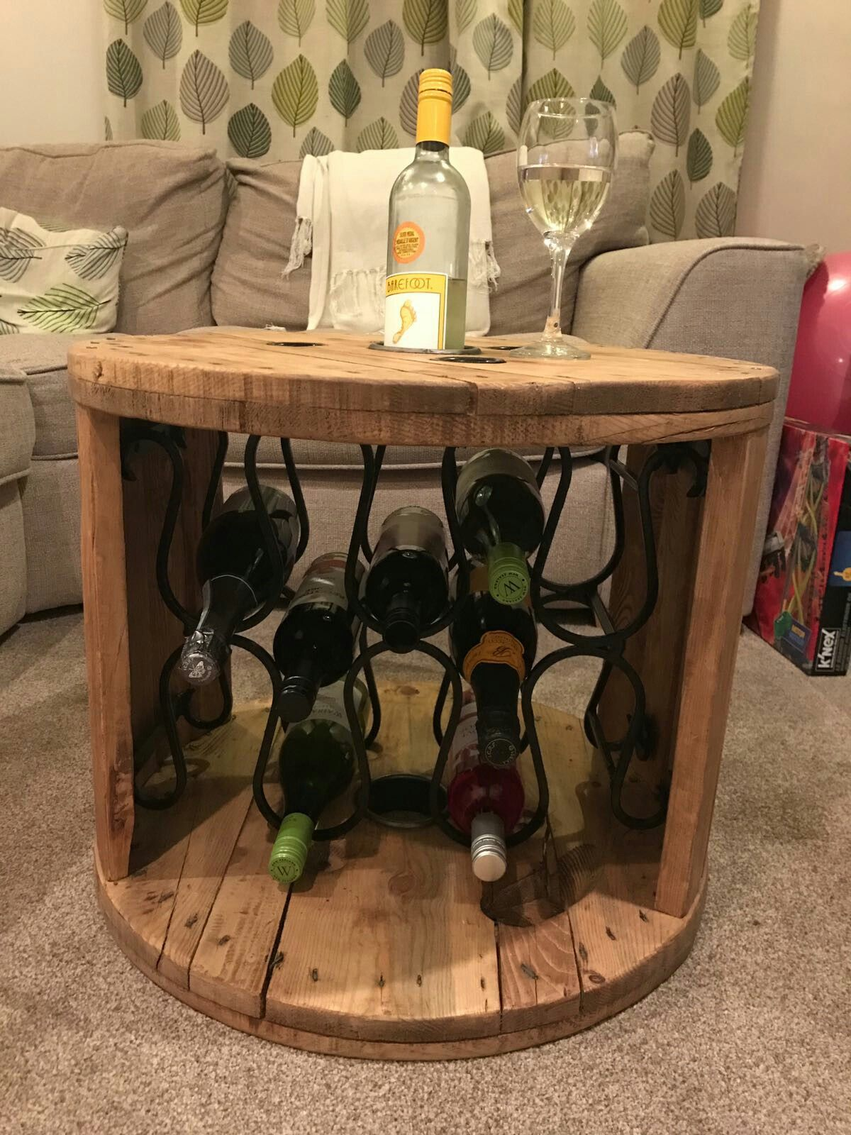 Upcycled electric cable reel - now a wine rack / coffee table. More ...