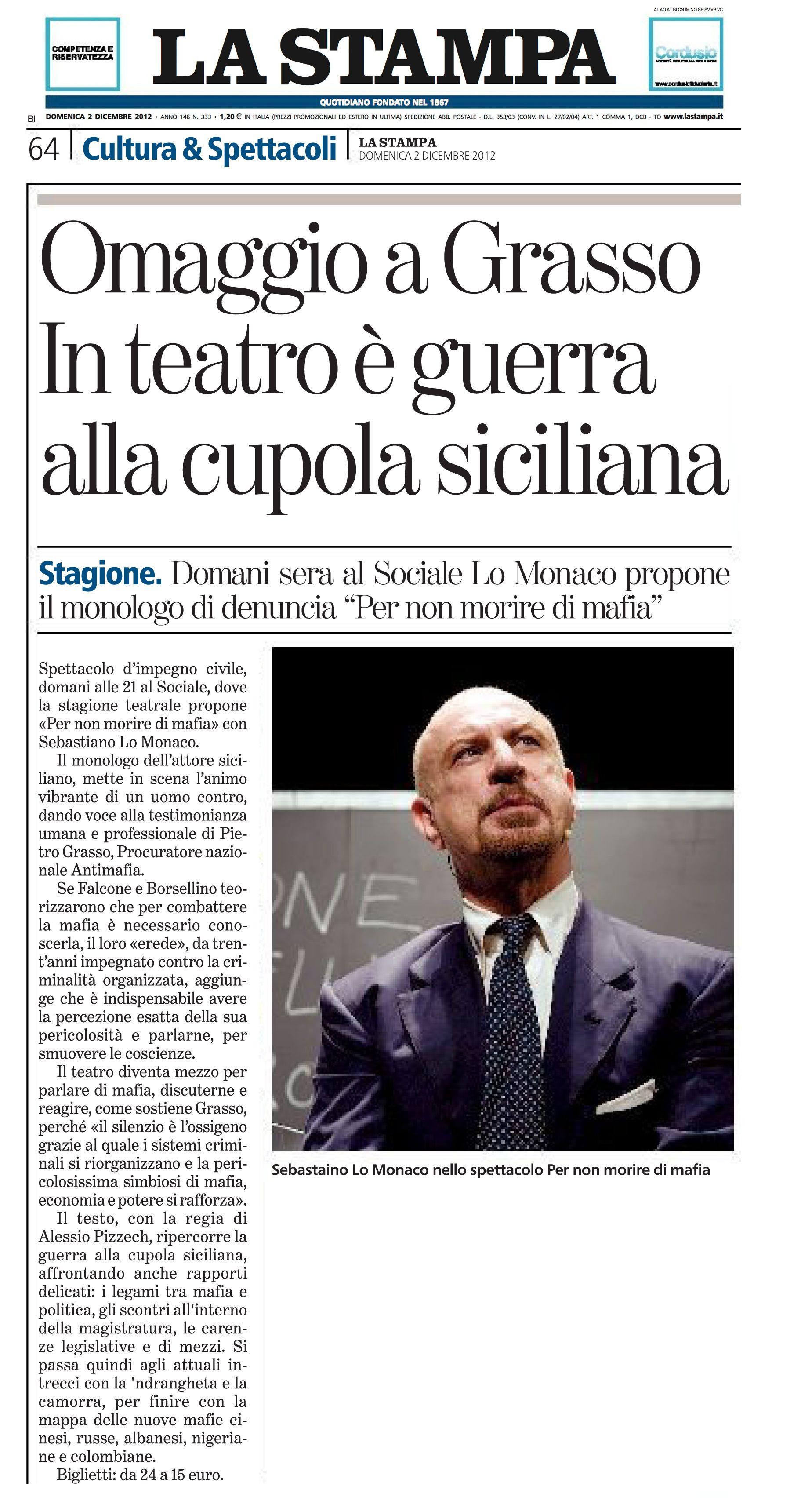 2 dicembre 2012 - La Stampa - Per Non Morire di Mafia - Teatro Sociale di Biella