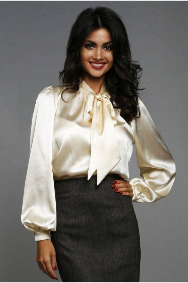 7795368268 Cream Satin Bow Blouse and Black Satin Pencil Skirt | Satin Blouse ...