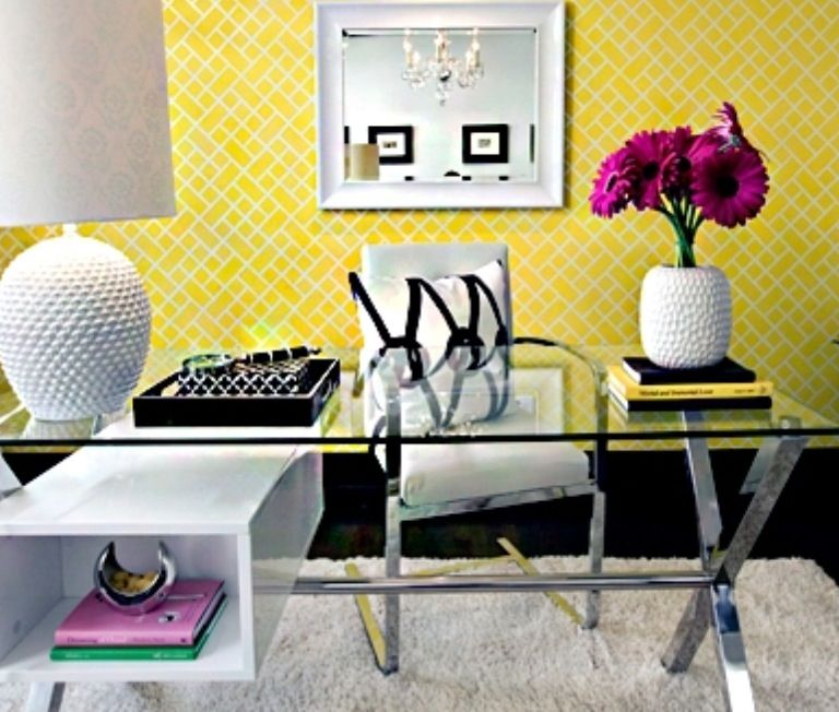 yellow office decor. Jeff Lewis Office Design - Light The Pop Of Color With Black And White Yellow Decor E