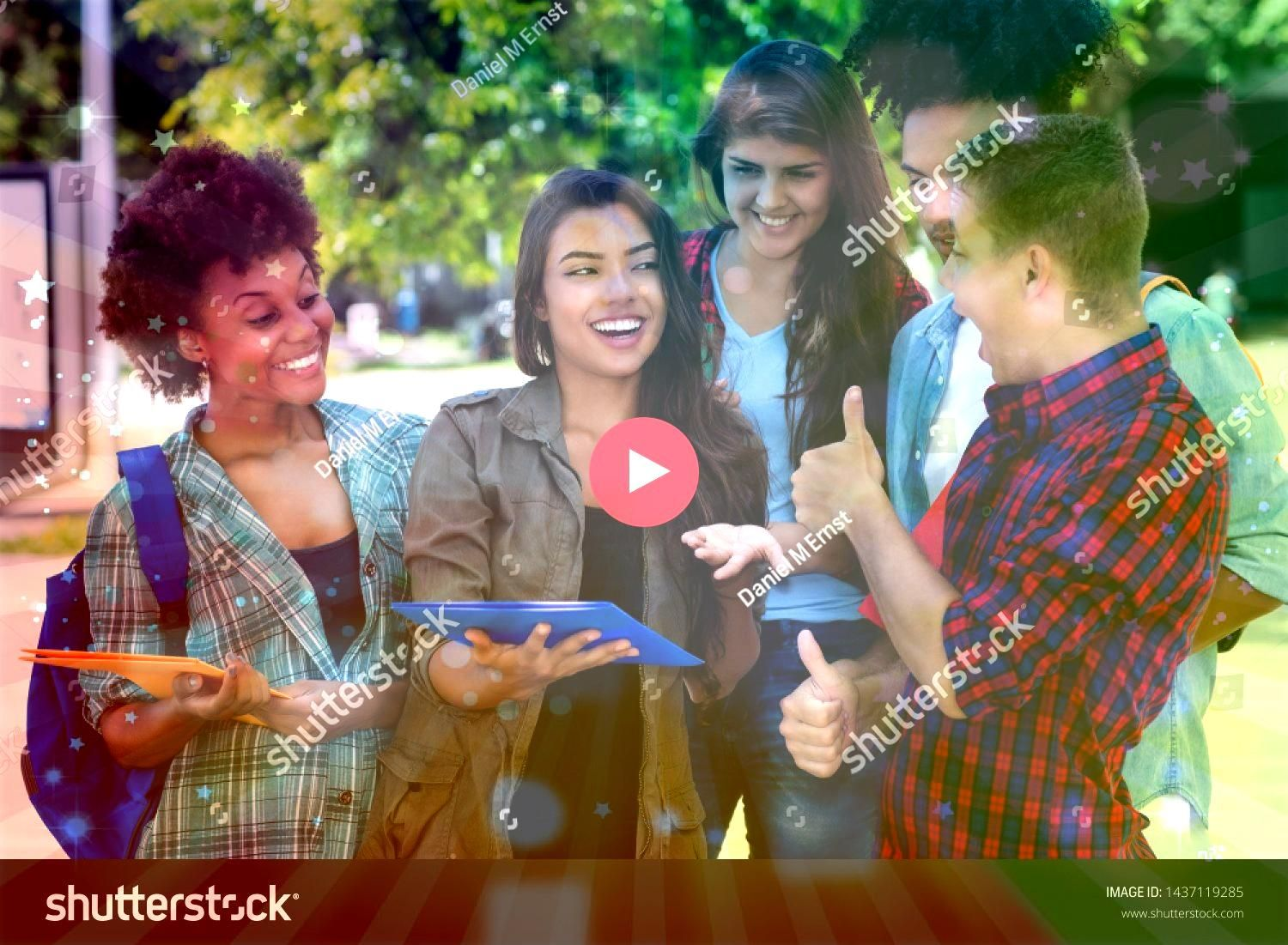 hispanic female student learning with group of latin and african american young adults outdoor at campus of university Pretty hispanic female student learning with group...
