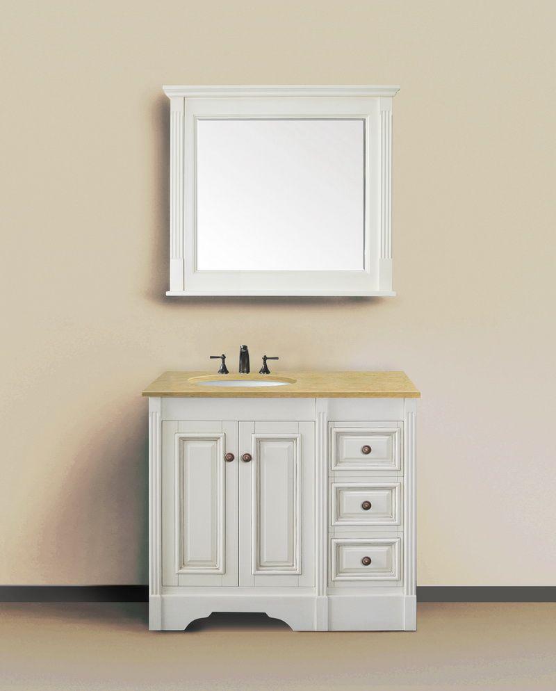 Legion 36 Inch Clic Bathroom Vanity Antique White Finish