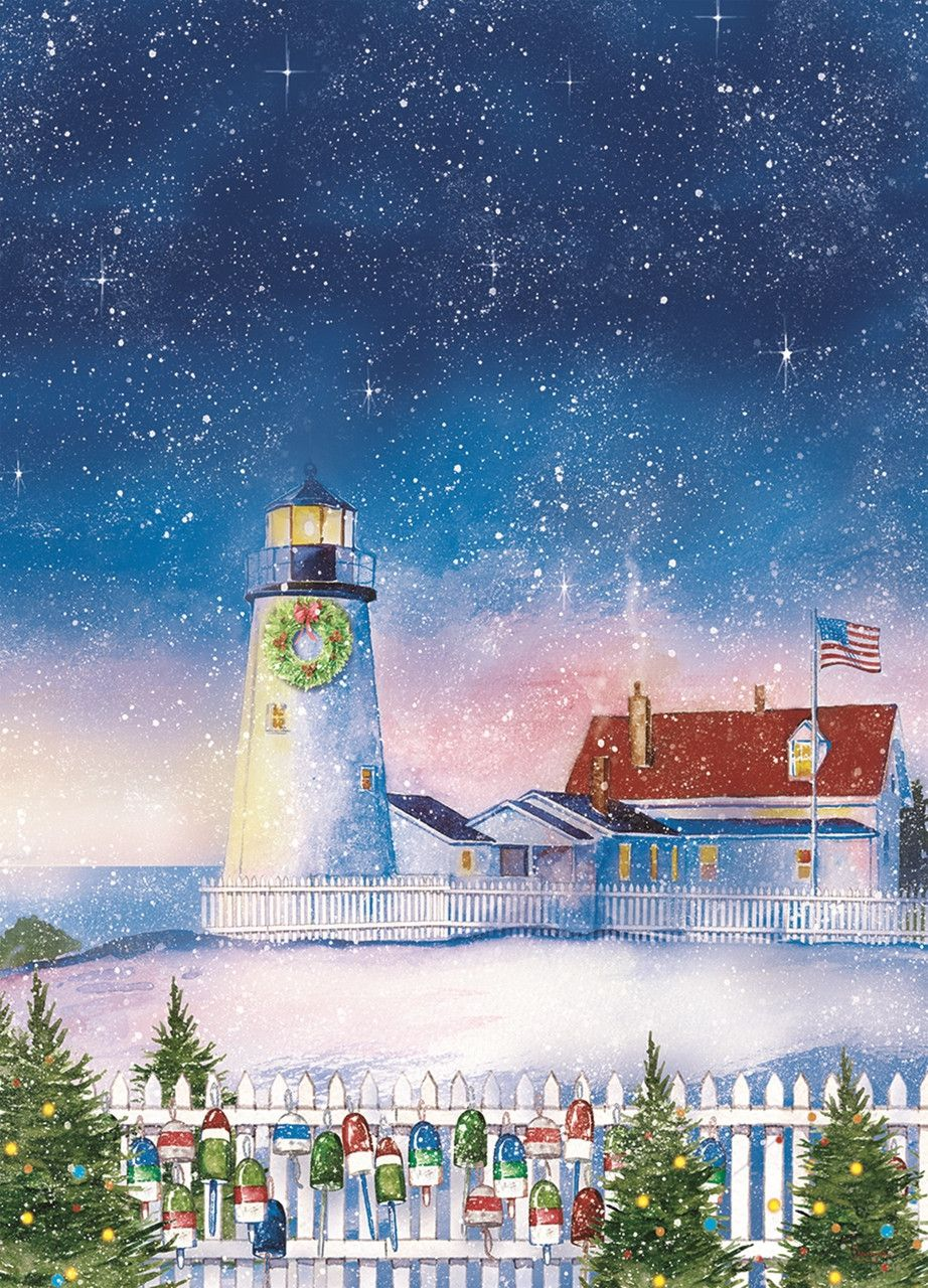a lighthouse appears in the snow with christmas decorations adorning the trees and fence in the foreground a starry night is seen above