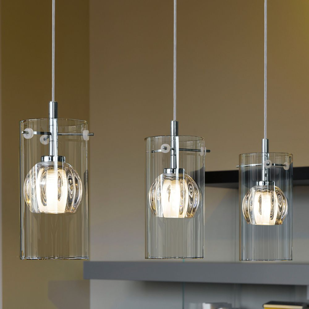 Eglo 93103 ricabo triple transparent and satinated glass Pendant lighting for kitchen