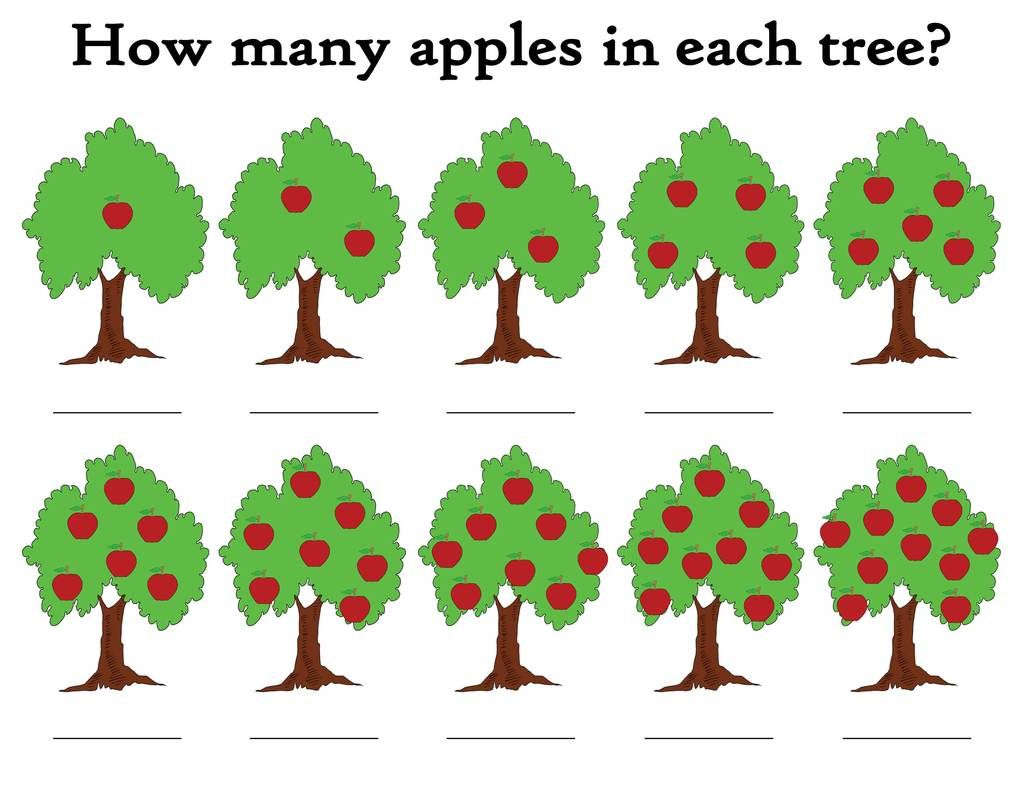 How Many Apples In The Tree Printable Apple Themed
