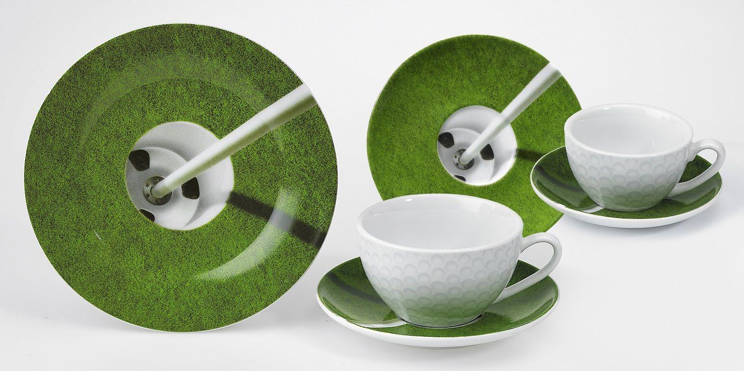 Golfmotiv Cappucinotasse 10cm mit Untertasse Golf Cup Coffe Cappucino Espresso