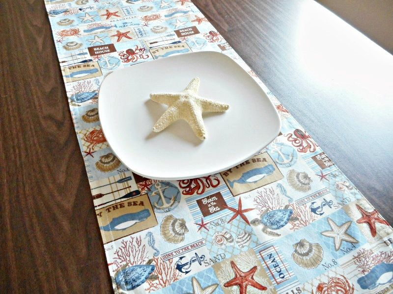beach table runner coastal nautical seashells starfish anchors