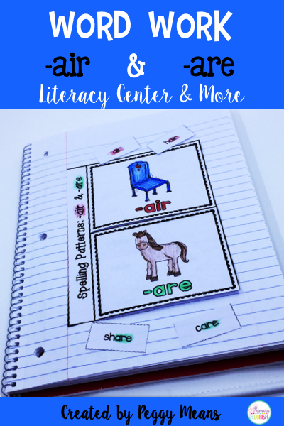 Phonics Literacy Center & Flip Books (word families 'are