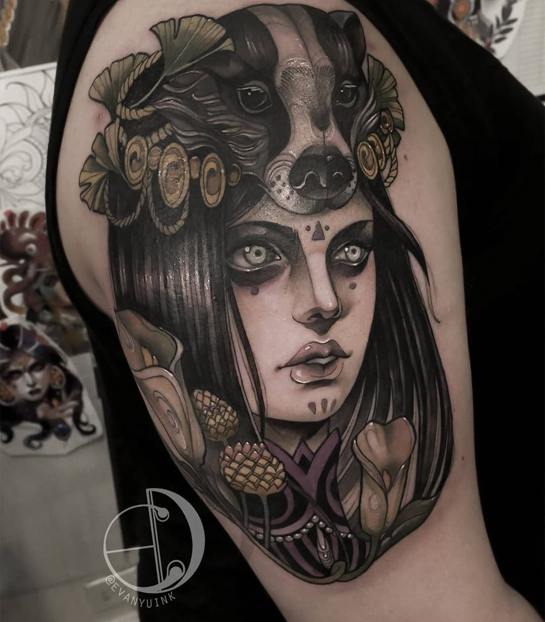 Neo Traditional Badger Headdress Headdress Tattoo Tattoos Neo Traditional