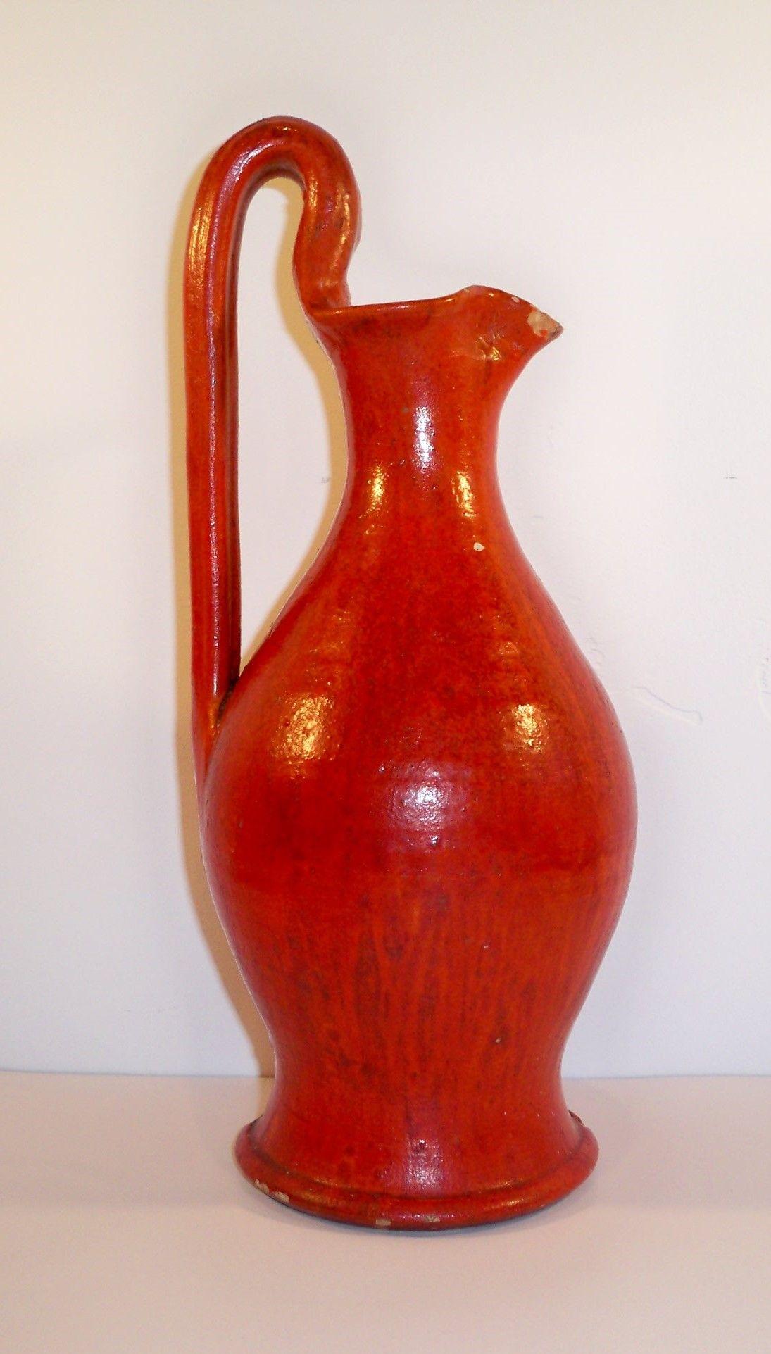 Attr Ar Cole Chrome Red Rebekah Pitcher Folk Pottery Ceramic Art Art Museum