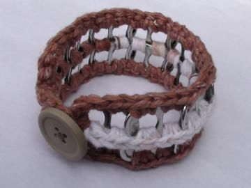 FREE SHIPPING! Crocheted Brown and White Cotton Pop Tab Button Bangle Bracelet by PopTabilicious for $9.95