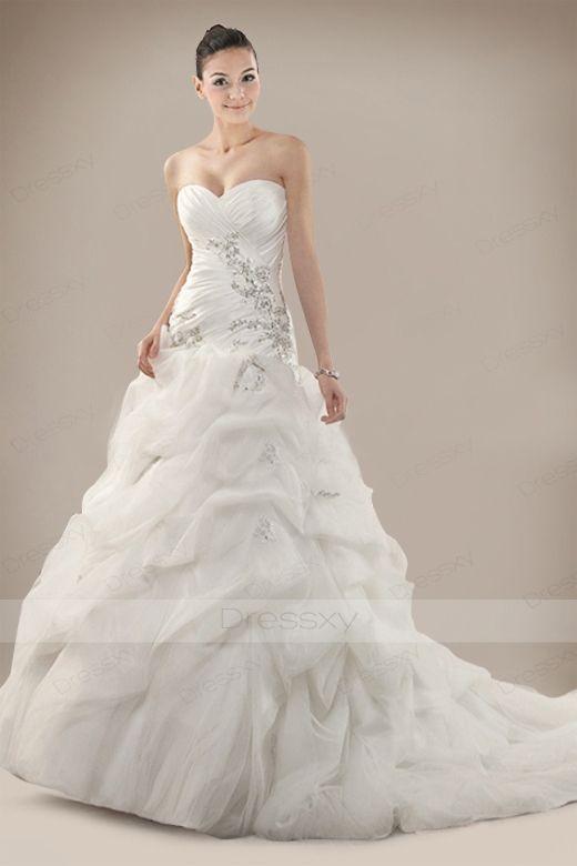 Amazing Princess Wedding Dress with Cascading Pick-up Embellishment ...