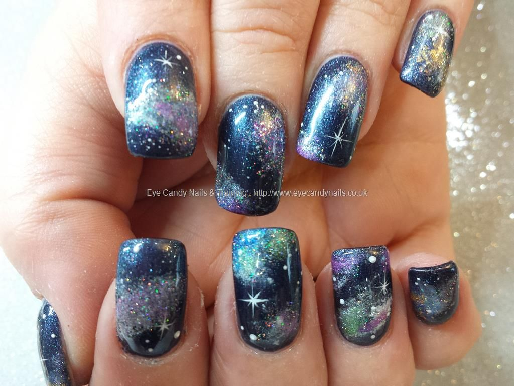Nail Technician:Elaine Moore Description: galaxy nails with navy gel ...
