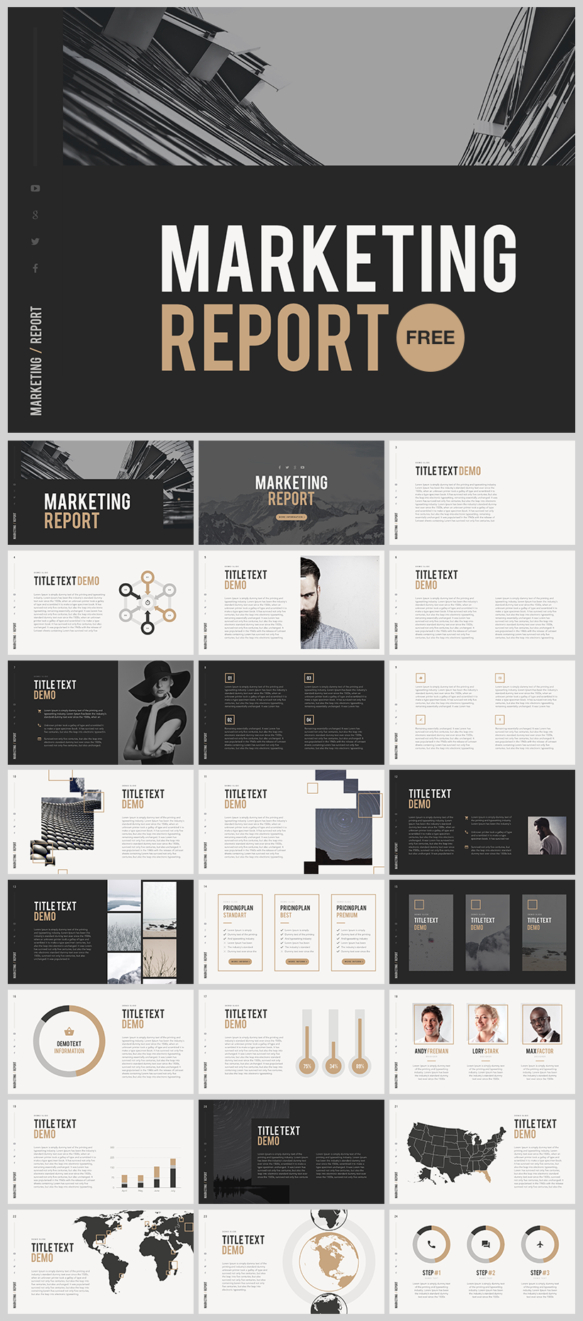 Marketing Report Template Powerpoint  Infographics Design