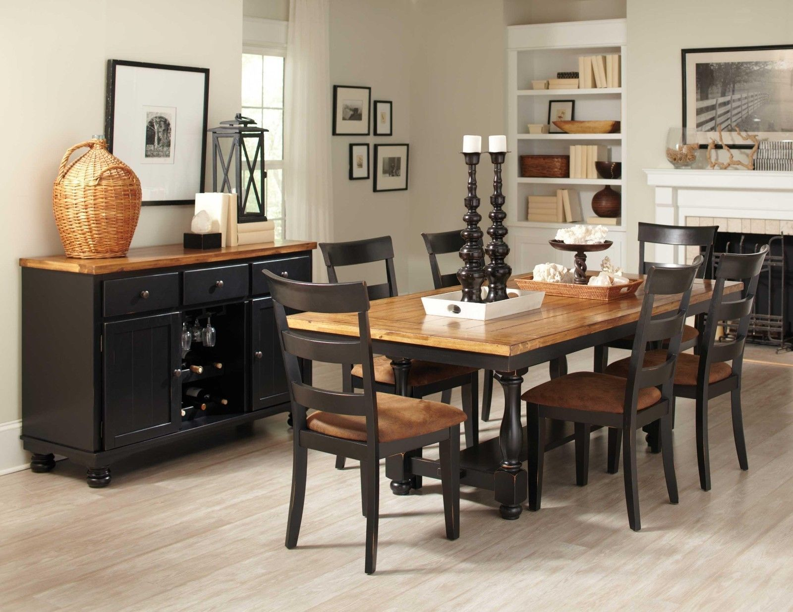 Black And Distressed Oak Dining Table Chairs Room Furniture Set Within