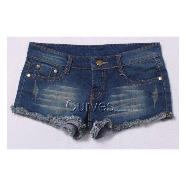 Frayed Hem Threadbare Style Denim Shorts ($38) ❤ liked on Polyvore