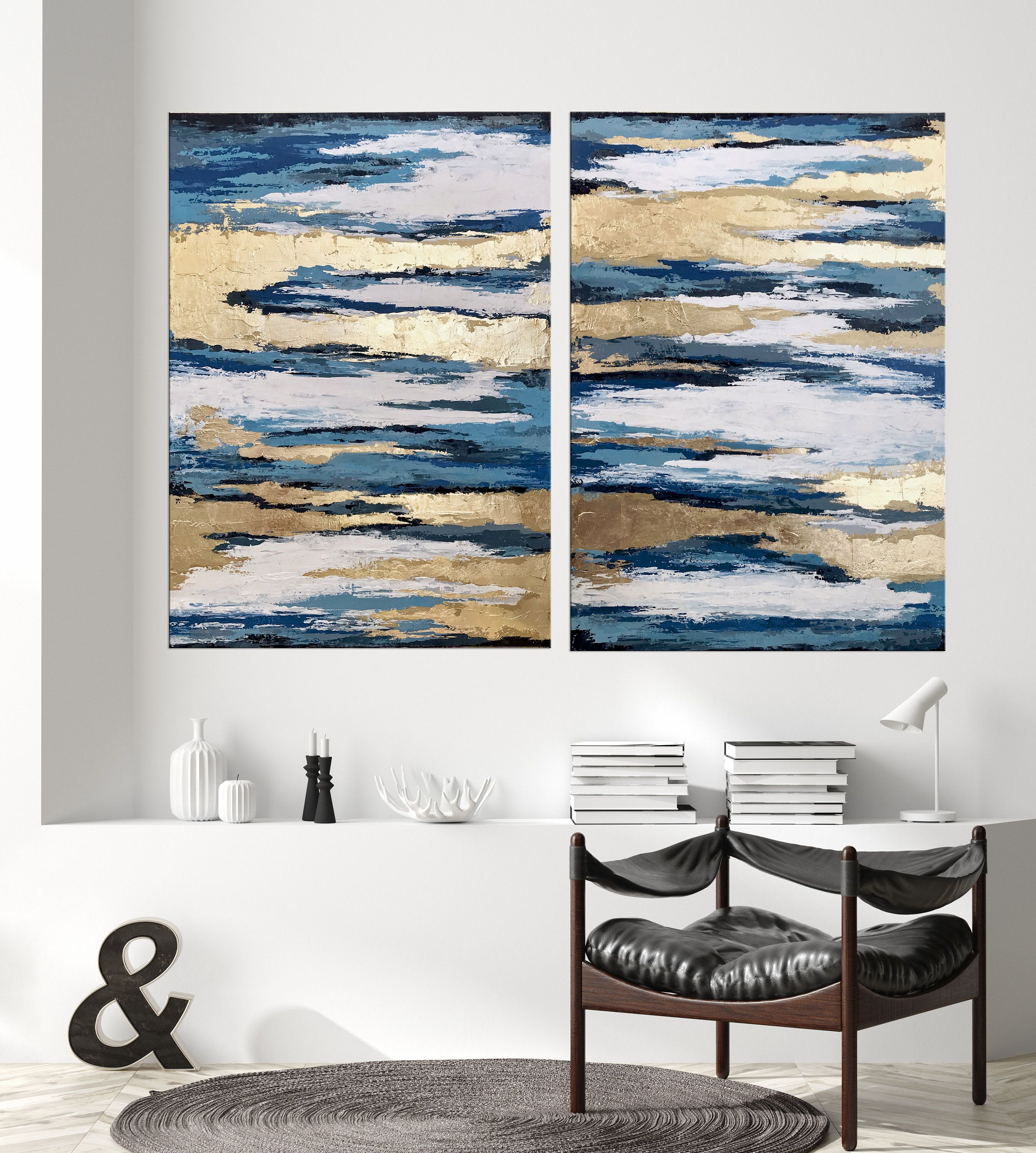 Gold Abstract Art Diptych Wall Art Large Blue Teal Abstract Etsy Diptych Wall Art Living Room Art Multi Panel Art