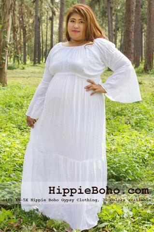 70296cadf7d White Gauze Dress Plus Size | Size XS,S,M,L,1X,2X,3X,4X,and 5X Hippie Gypsy  Boho Style