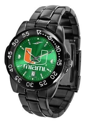 Miami Hurricanes Men's Logo Watch by SunTime. $70.95. 3 Year Limited Warranty. Adjustable Band. Men. Officially Licensed Miami-Florida Hurricanes Men's Stainless Steel Watch. Linked Steel Band. Miami Hurricanes Men's Logo Watch. The FantomT boasts a bold but not in-your-face image of Hurricanes logo in metallic silver on a black Ano-Chrome dial. The watch features a dark gunmetal finish, a date calendar display and a rotating bezel/timer that circles the scrat...