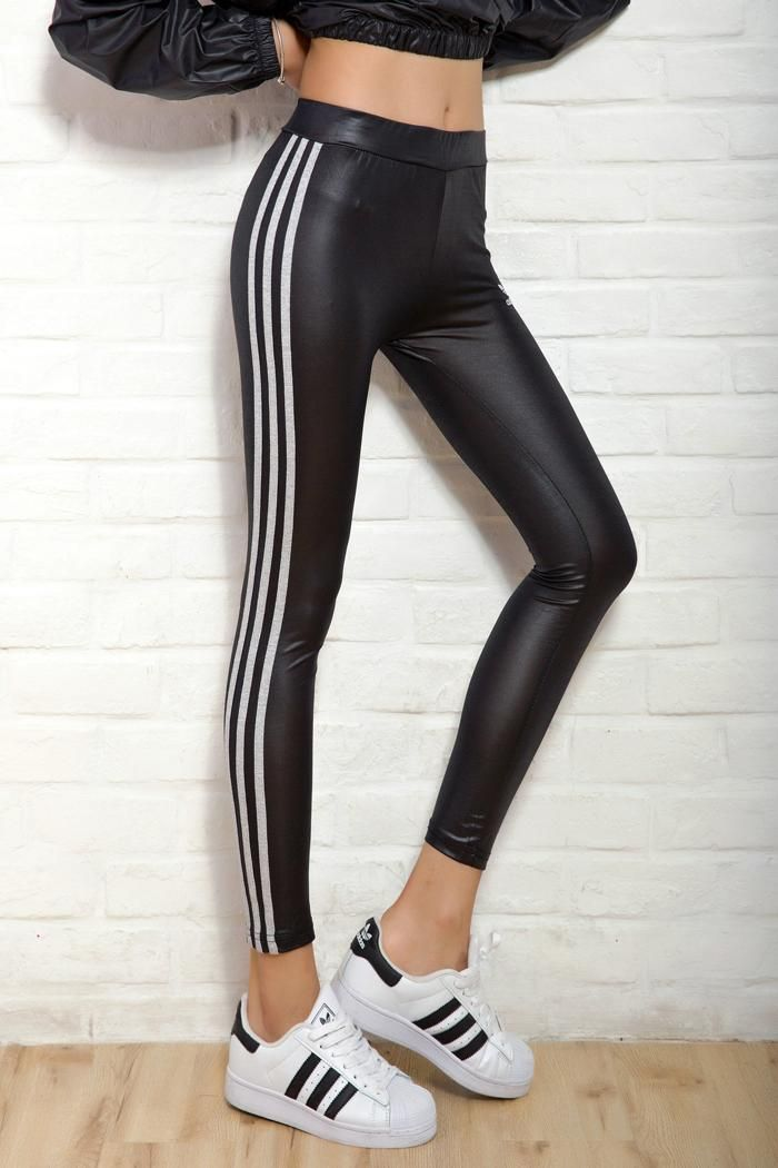 2016 mulheres primavera Leggings 80 s do Vintage Sexy Slim clássico Leggin alta   elástico calças calças de Fitness esportes Side Stripe em Calças de Roupas e Acessórios no AliExpress.com | Alibaba Group