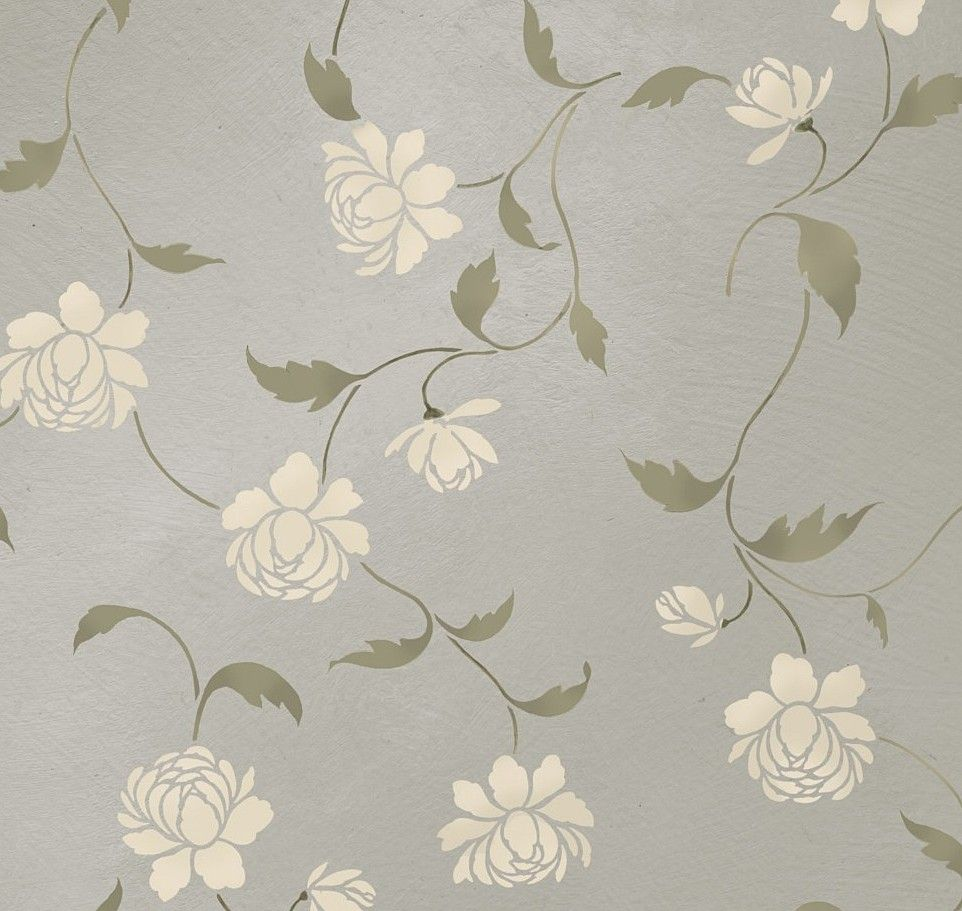Stencil Peony Allover Floral Pattern   Wall Decor Stenciling   DIY. $46.95,  Via Etsy