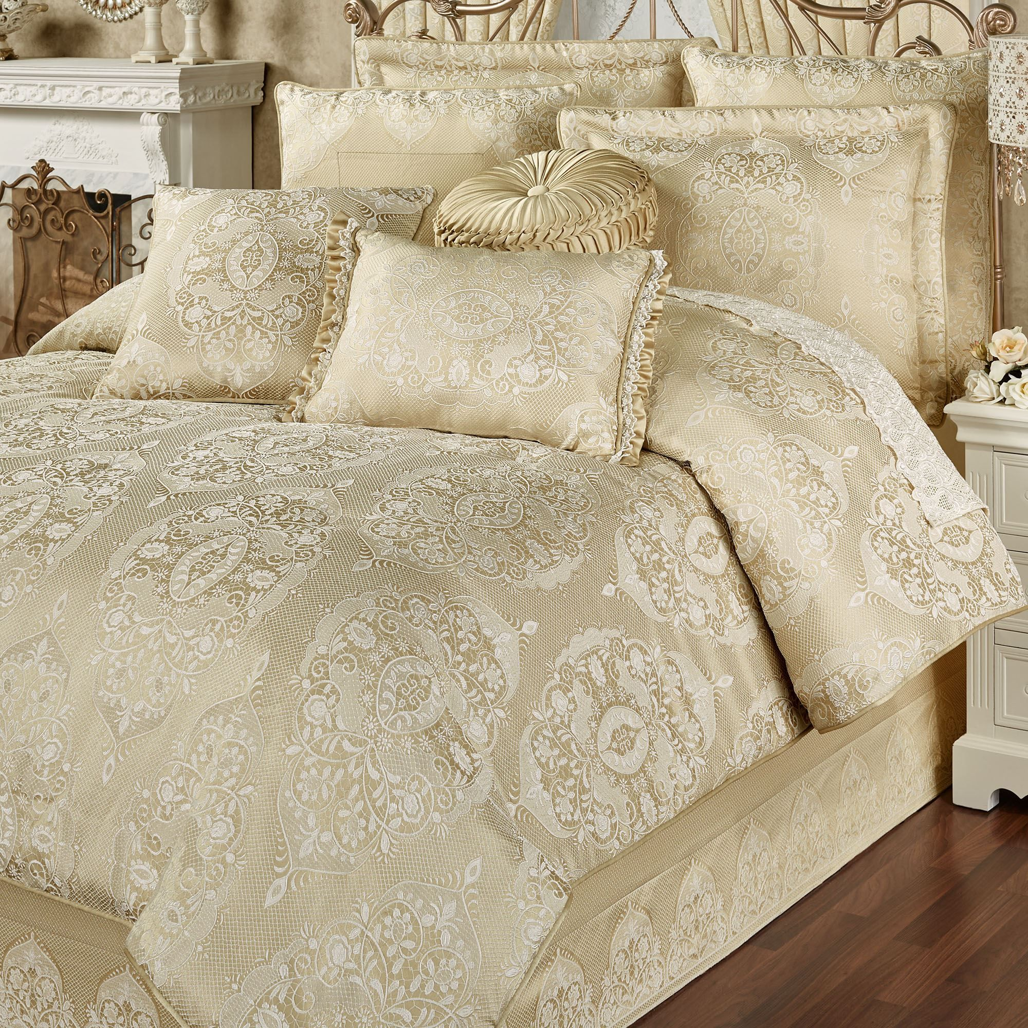 Francesca Light Gold Comforter Bedding Luxury Bedding Luxurious Bedrooms Luxury Bedding Sets