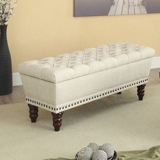 Shop For Hampton Linen Tufted Storage Bench. Get Free Shipping At  Overstock.com
