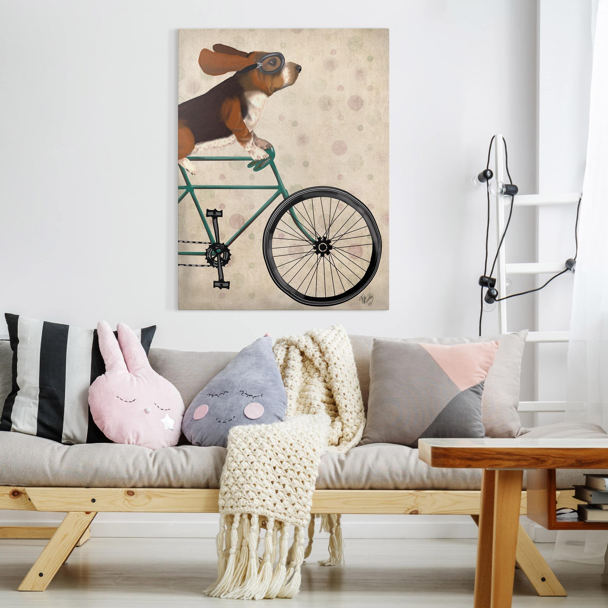 leinwandbild radtour basset auf fahrrad hochformat 4 3 leinwandbilder leinwand wandbilder fotoleinwand online bestellen bilddruck