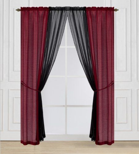 Ace Designers Collection 6 Piece Window Curtain Set Red Black Black Curtains Red And Black Curtains Curtains