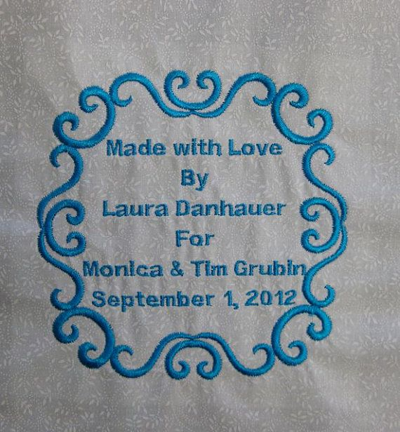 "Quilt Label: Custom Medium Embroidered Label About 51/2"" X"