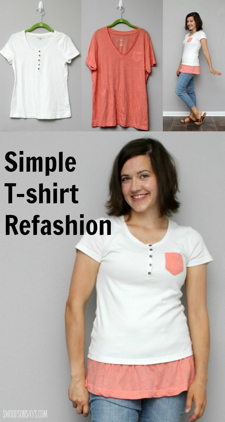 4633251a8dfa3 A simple tshirt refashion to make a tunic length top! Step by step  instructions show you how to combine two shirts and lengthen one instead of  throwing it ...