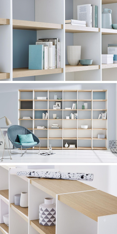 Wohnwand/Bücherregal Im Wohnzimmer U2013 Weiß/eiche