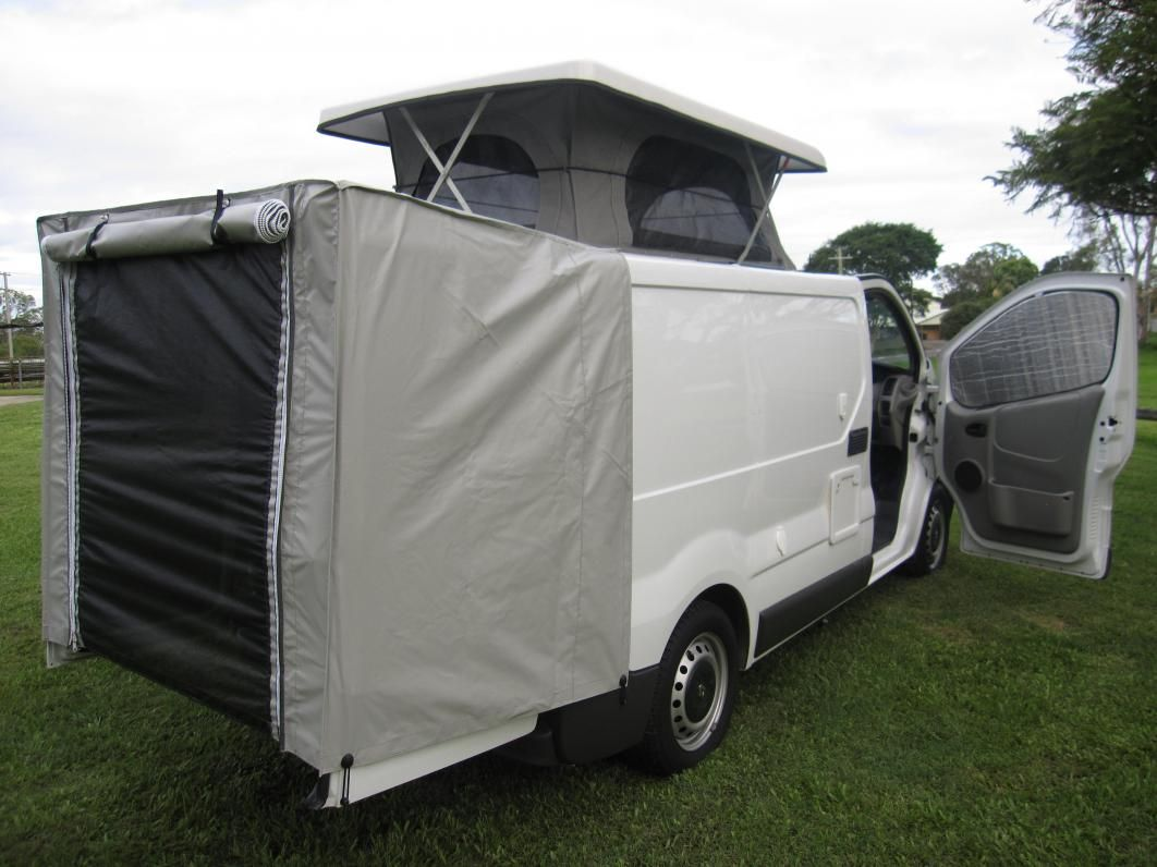 renault trafic camper with rear door supported awning. Black Bedroom Furniture Sets. Home Design Ideas