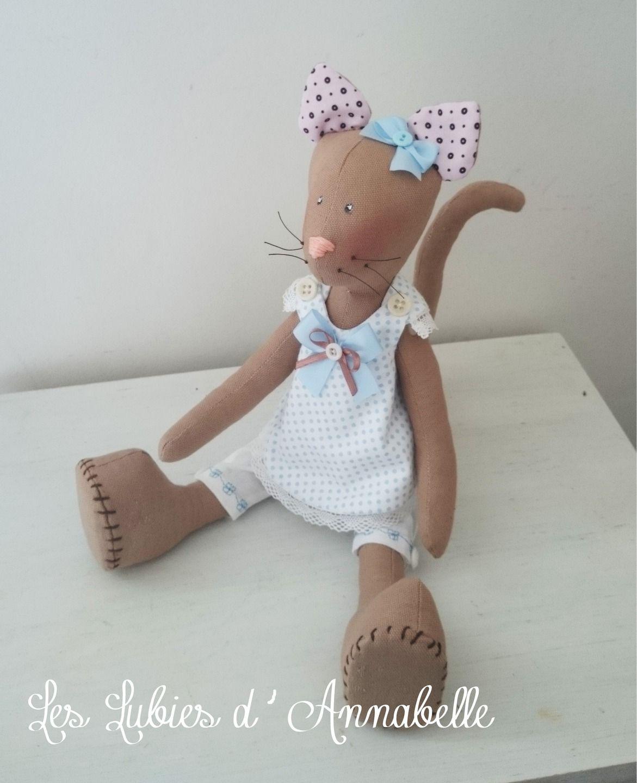 Chat d\'inspiration Tilda style Shabby Chic en lin | Dolls poupées ...